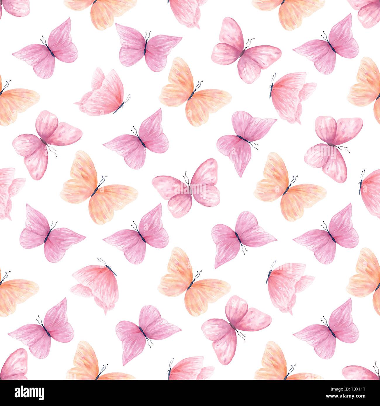 Aquarelle papillons colorés motif transparent Photo Stock