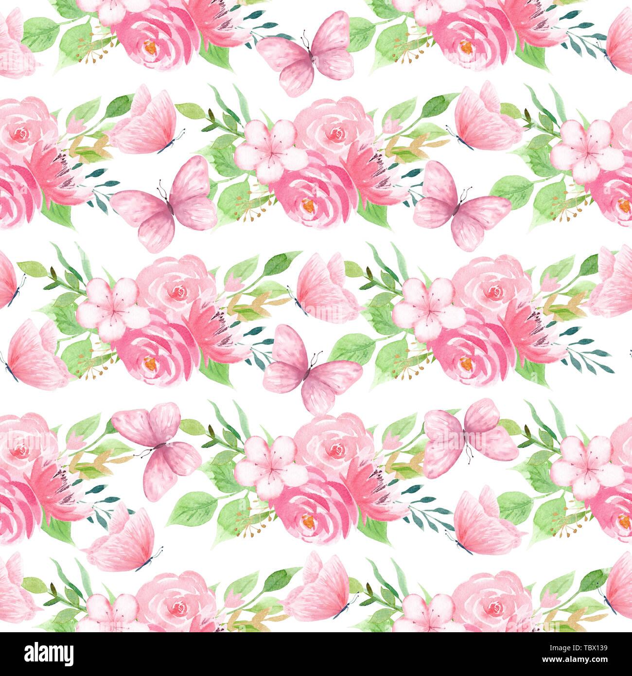 Avec des fleurs insectes volants seamless pattern Photo Stock