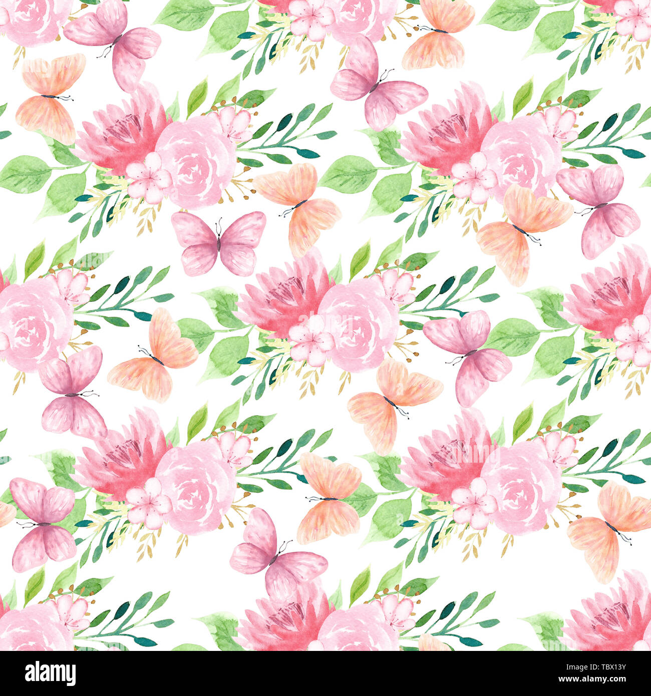 Fleurs et papillons colorés motif transparent Photo Stock