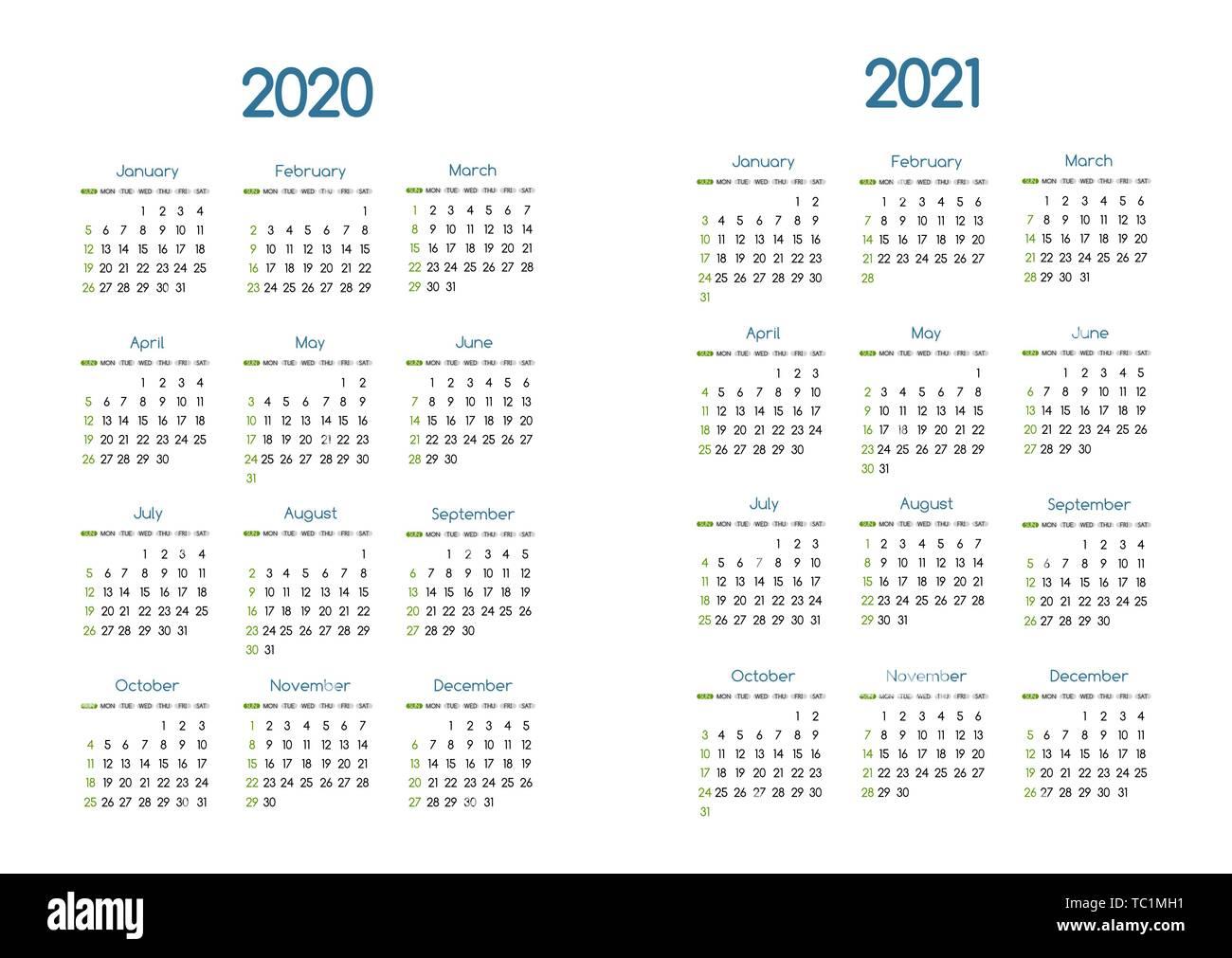Nouvelle année 2020 et 2021 calendrier simple vecteur moderne