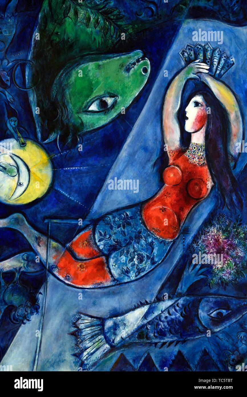 Le Cirque Bleu 1950 Une Peinture De Marc Chagall Au Musee Chagall A Nice Sud De La France Photo Stock Alamy