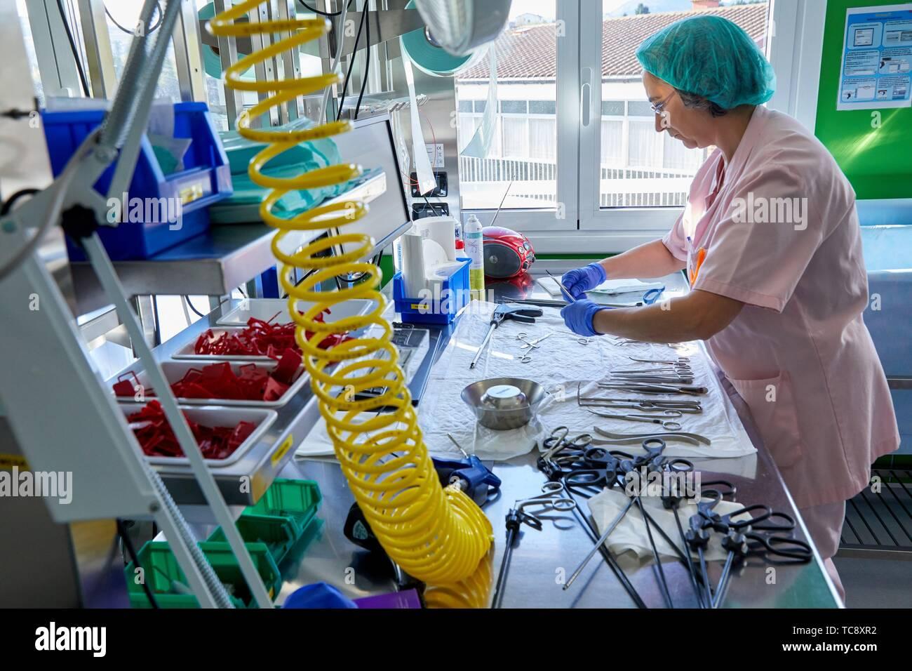 Matériel chirurgical, la stérilisation à l'Autoclave, le nettoyage, l'hôpital Donostia, San Sebastian, Gipuzkoa, Pays Basque, Espagne Photo Stock