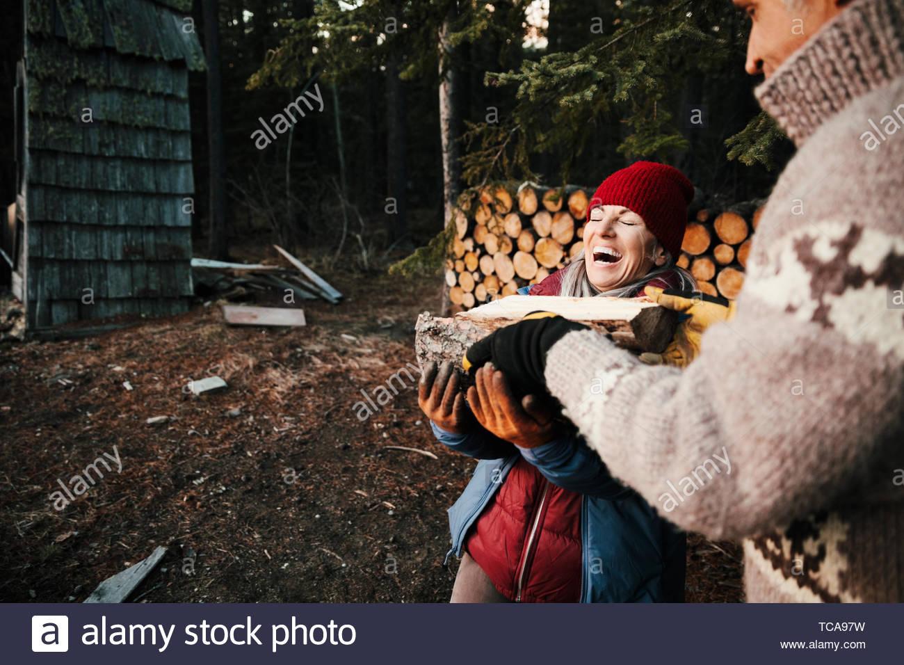Couple heureux ramasser du bois de chauffage Photo Stock