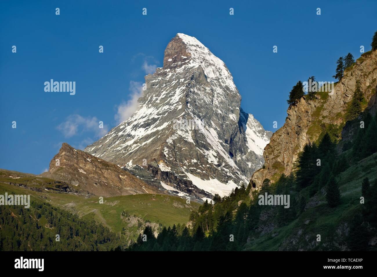Le Mont Cervin ou Monte Cervino pic de montagne, Zermatt, Suisse. Banque D'Images
