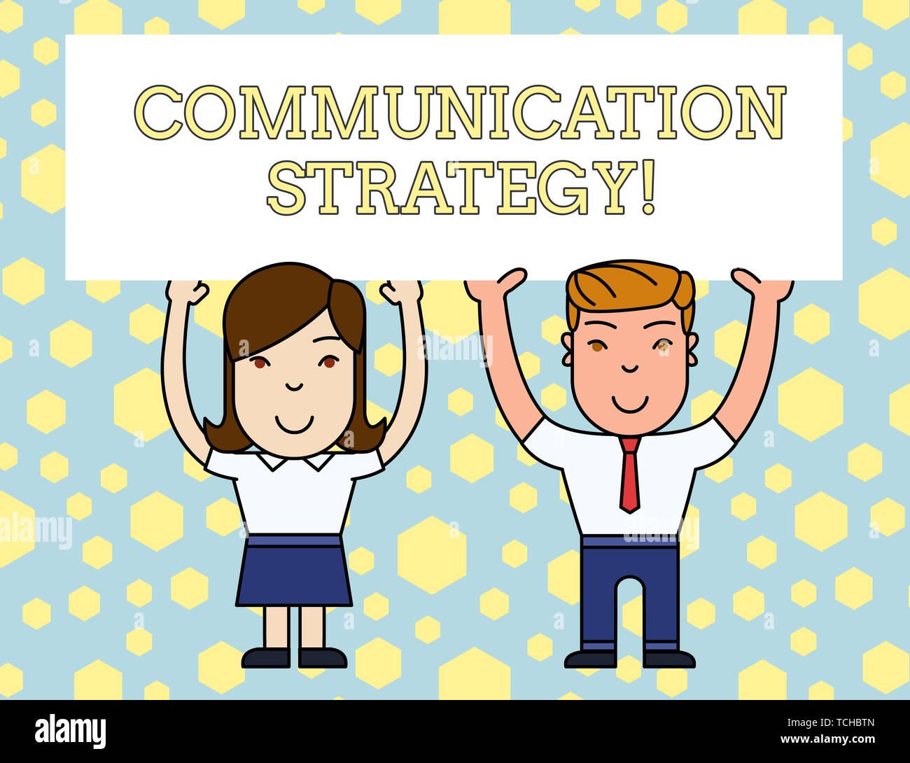 L'écriture de texte Word Stratégie de communication. Photo d'entreprise présentant les plans visuel ou non verbale verbale de l'objectif et la méthode 2 Smiling People Holding Big Photo Stock