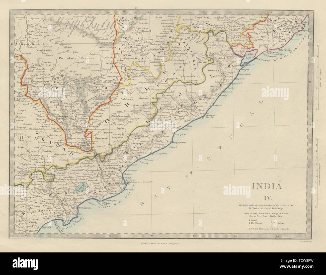L'INDE Circars Hyderabad Andhra Pradesh d'Odisha Orissa Chhattisgarh. Carte 1874 SDUK Photo Stock