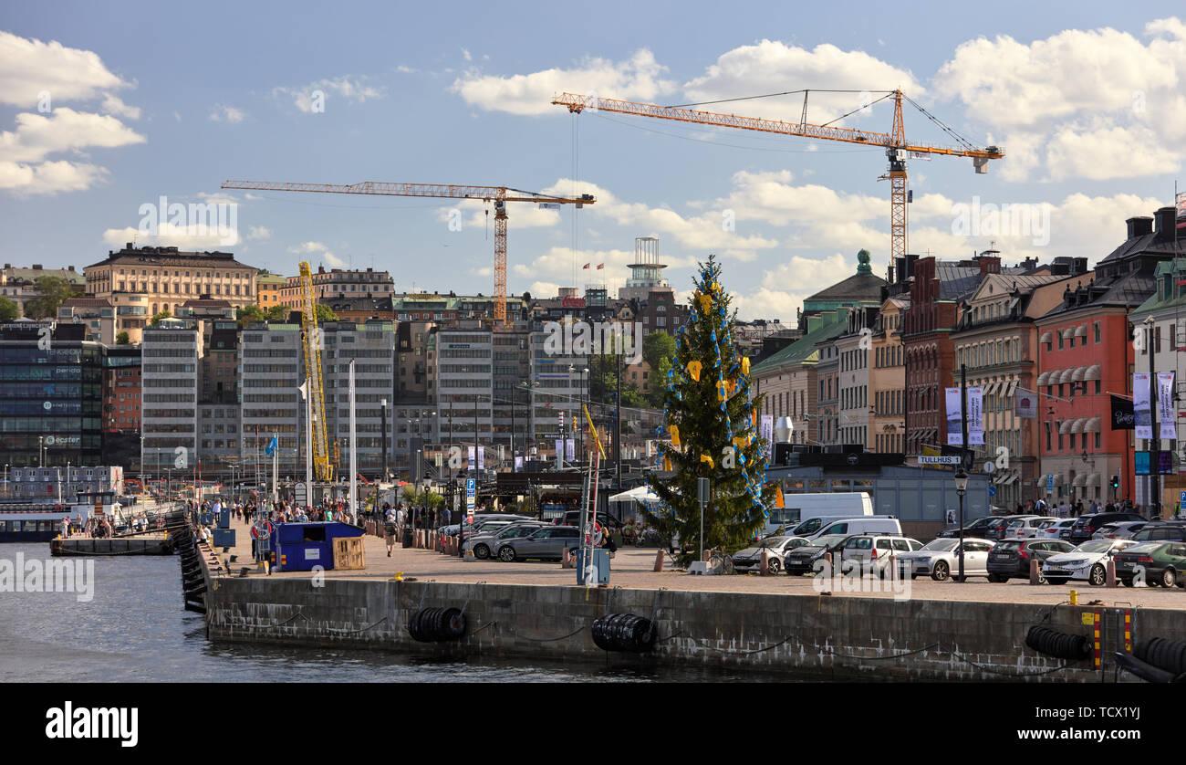 Gamla Stan et Slussen, Stockholm, Suède Banque D'Images