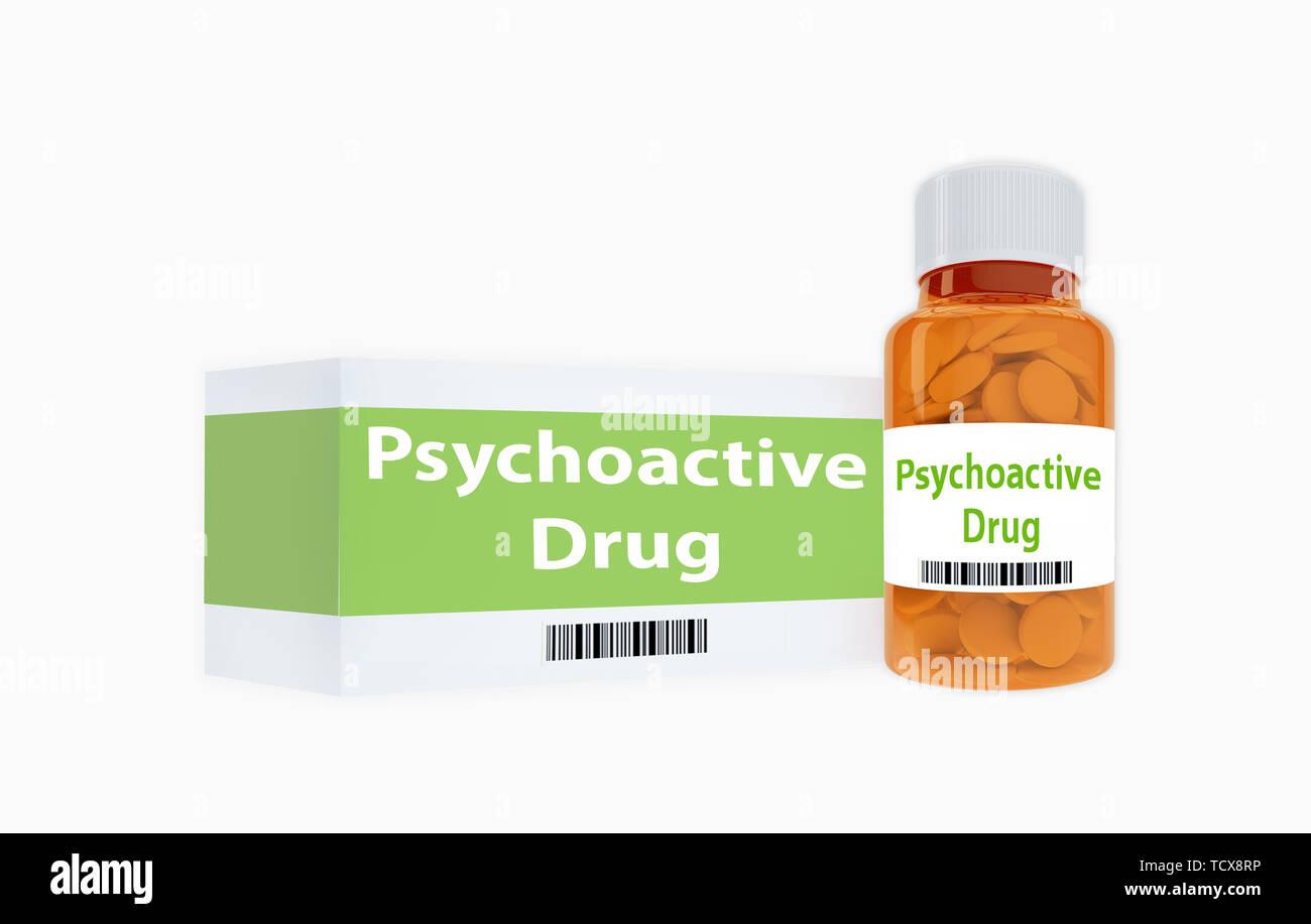 3D illustration de titre de médicaments psychoactifs sur bouteille de pilules, isolé sur blanc. Banque D'Images
