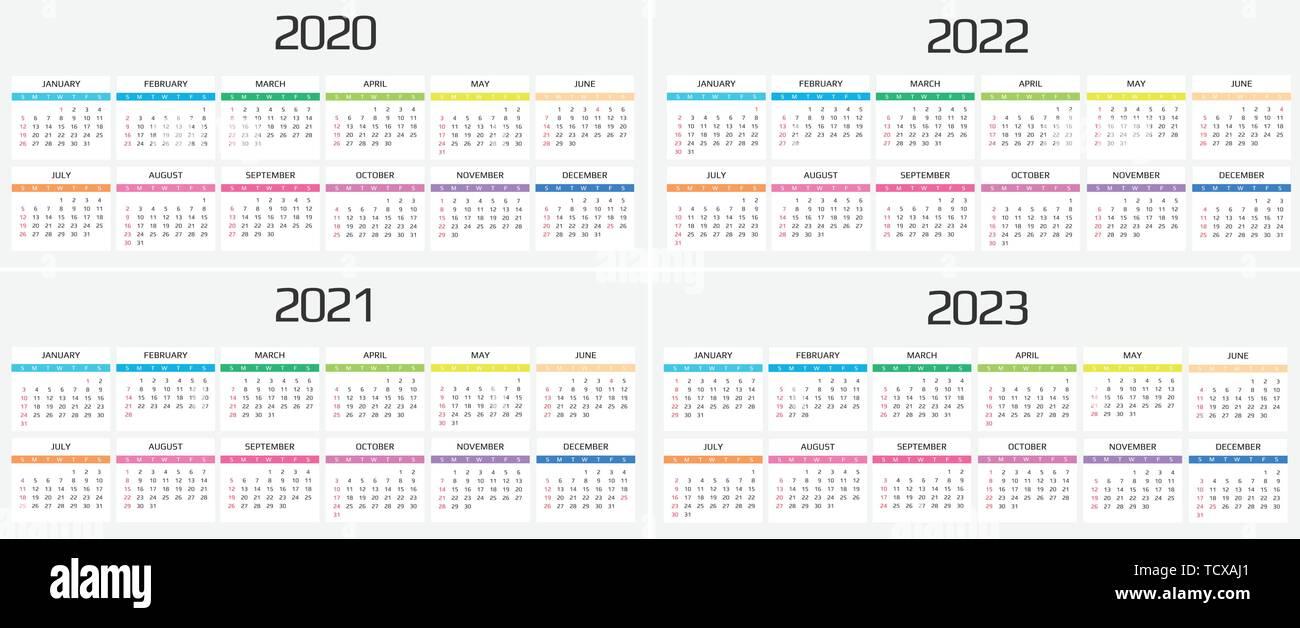 Calendrier 2020, 2021, 2022, 2023 modèle. 12 mois. : maison de l