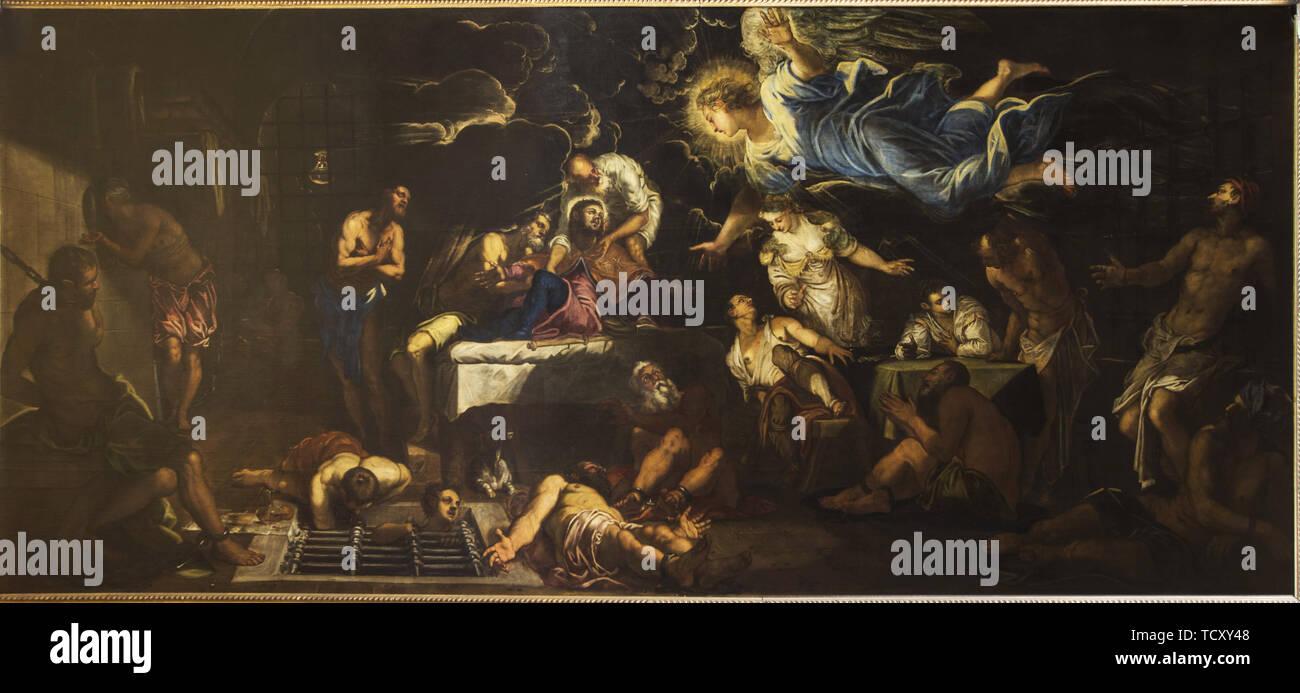 Saint Rochh en prison visitée par un Ange, 1567. On trouve dans la Collection de la Scuola Grande di San Rocco, Venezia. Photo Stock