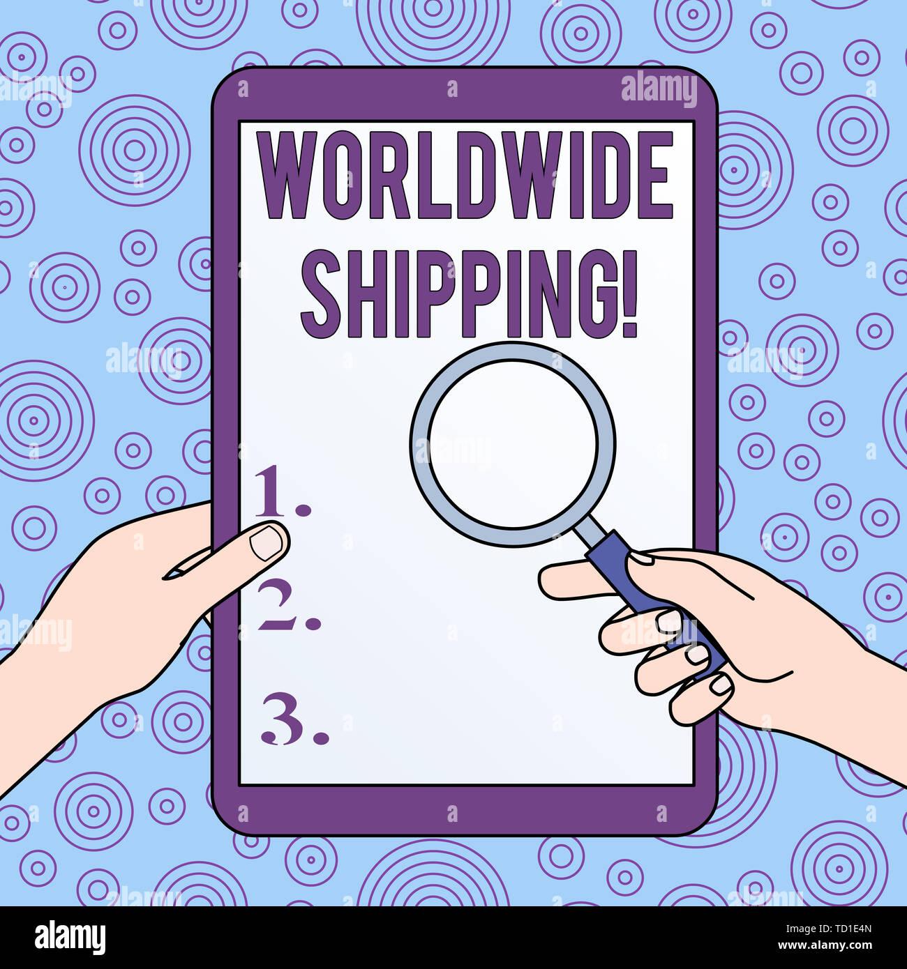 Main conceptuel écrit, indiquant l'expédition dans le monde entier. Sens Concept Sea Freight livraison de marchandises Expédition Internationale Hands Holding Magnifying Glas Photo Stock