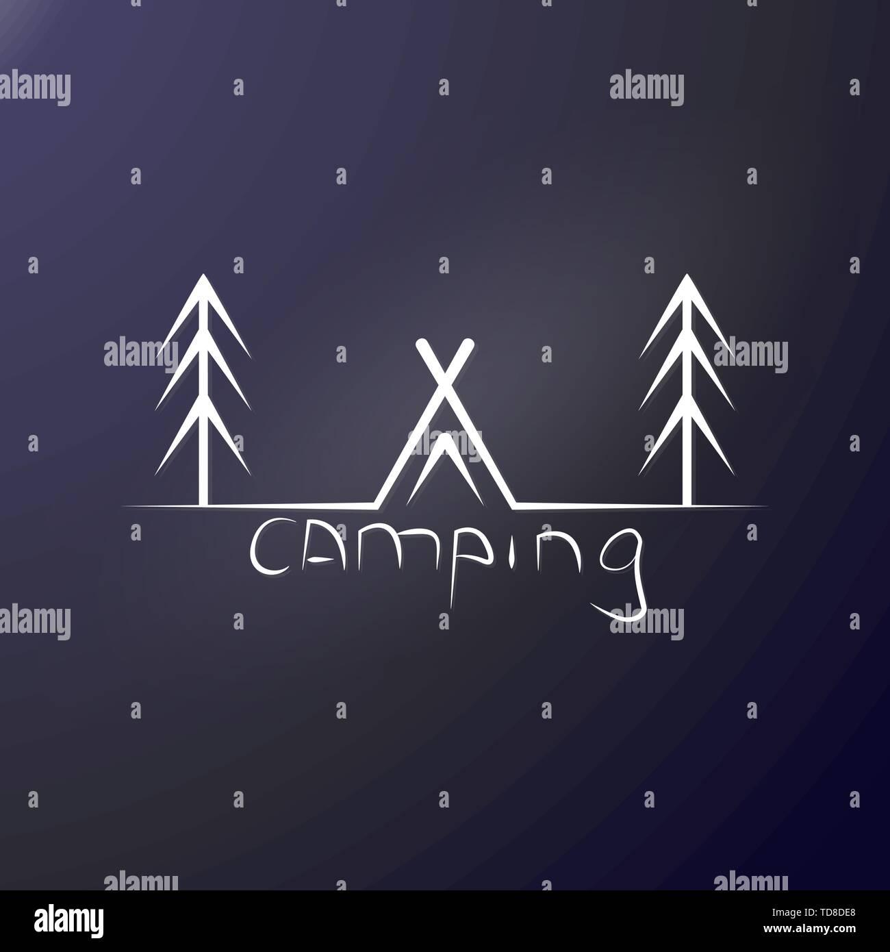 Camp dans la forêt. Tente parmi les pins et l'inscription au camping. Stamp ou logo pour les voyageurs. Wild reste parmi les arbres. Autocollant extérieur ou imprimer Illustration de Vecteur