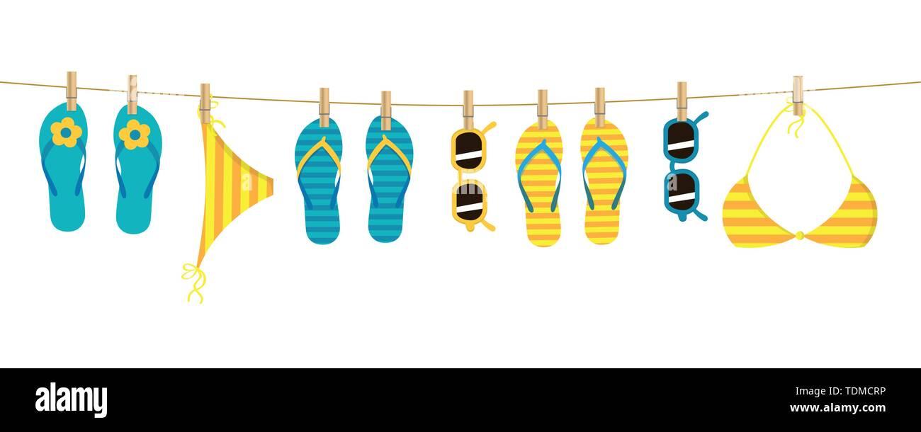 Tongs colorées et lunettes bandeau accroché sur une corde sur fond blanc des vacances d'EPS10 vector illustration design Illustration de Vecteur