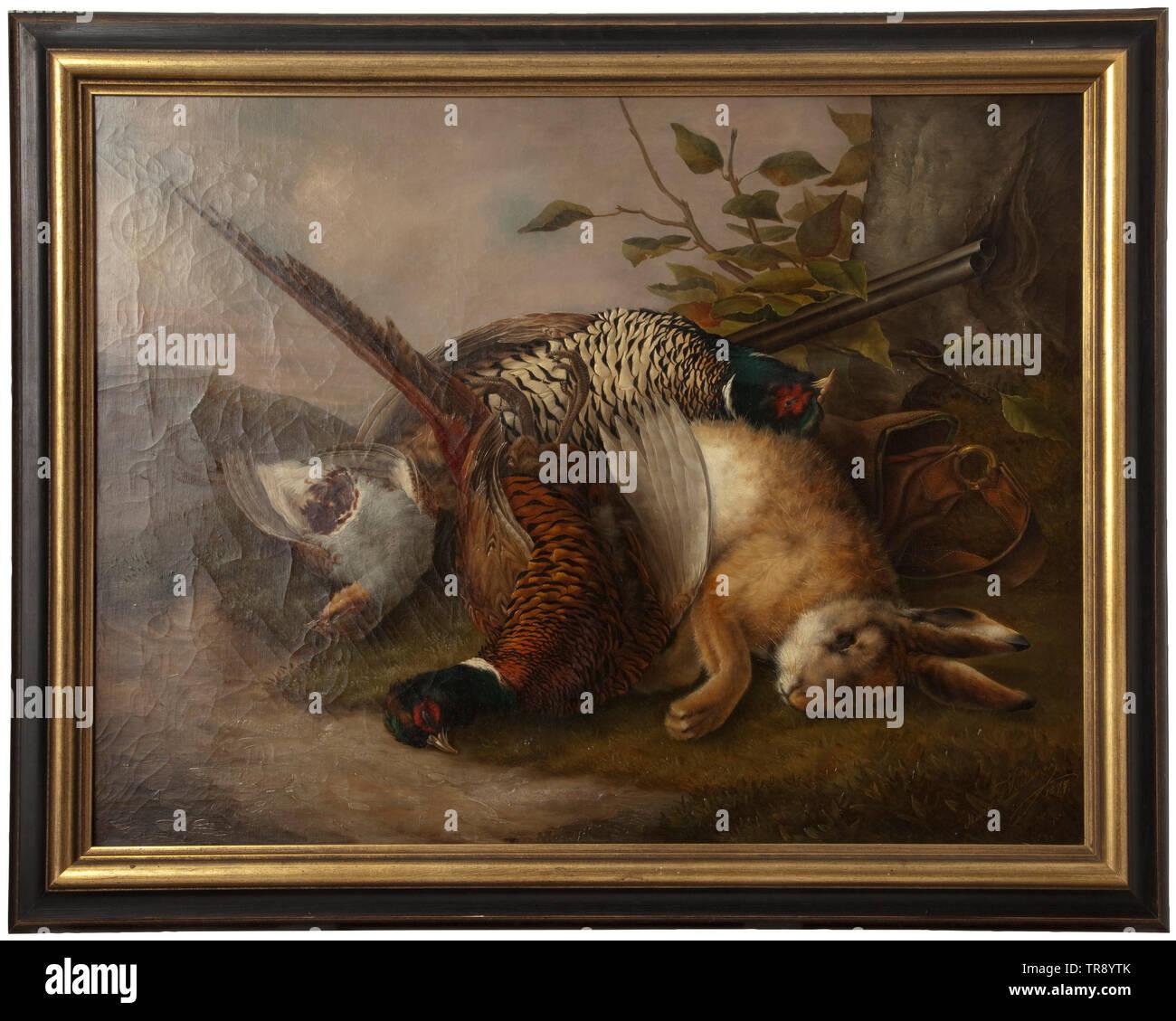 Le thème de la chasse une vie encore Huile sur toile, signée et datée 'actions Marie c. Valenzi 1877' en bas à droite. Fusil de chasse à double branche, sac de chasse et shot jeu (un lièvre, deux faisans et perdrix un) à la racine d'un arbre. Représentation réaliste, magistrale de la fourrure et les plumes en face d'un paysage finement détaillé en arrière-plan. Dans un cadre profil doré partiellement (légèrement endommagé). Doublé, les traces de l'âge. Dimensions de la photo 67 x 89 cm, dimensions du cadre 82 x 103 cm., historique, historique, chasse, chasse, chasse, morceau de l'ustensile, Additional-Rights Clearance-Info-rad-Not-Available Photo Stock