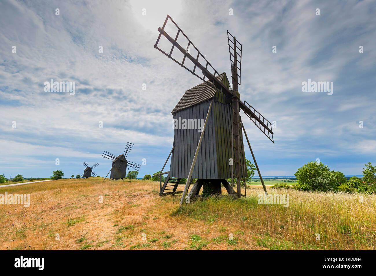 Publiez moulin sur oeland, la Suède, l'Oeland, Kalmar Banque D'Images