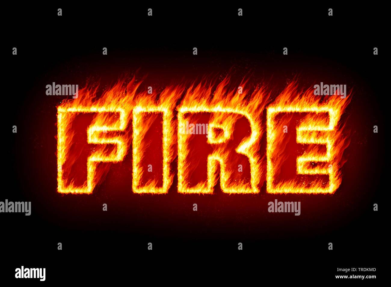 3D-Computergrafik, Darstellung des Wortes (FEU Feuer und Flamme) aus schwarzem Hintergrund brennenden Buchstaben vor | 3D computer graphic, illustrat Photo Stock