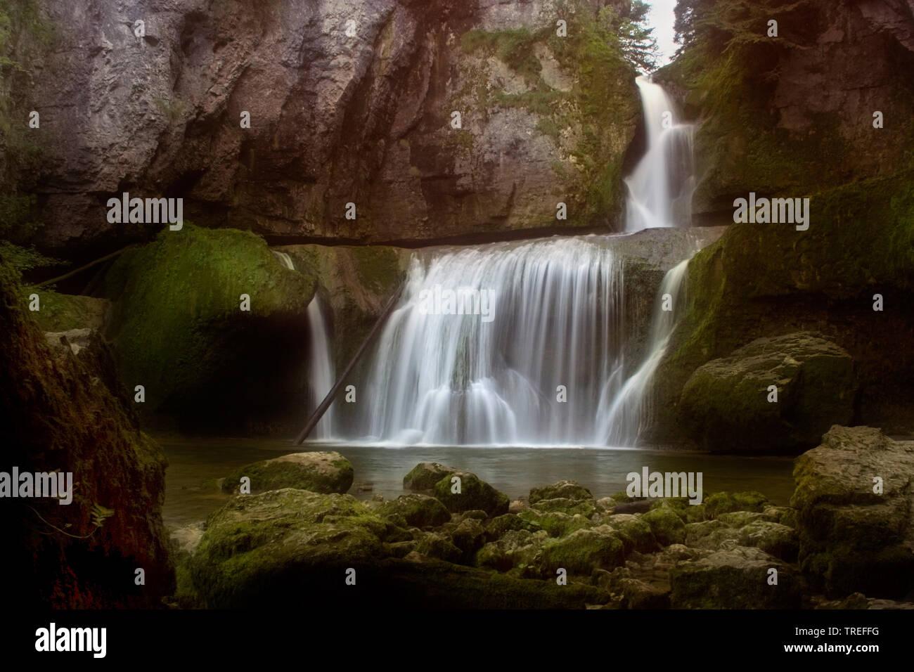 Cascade cascade de la Billaude, France, Bourgogne-Franche-ComtÚ, Jura, Vaudioux Banque D'Images