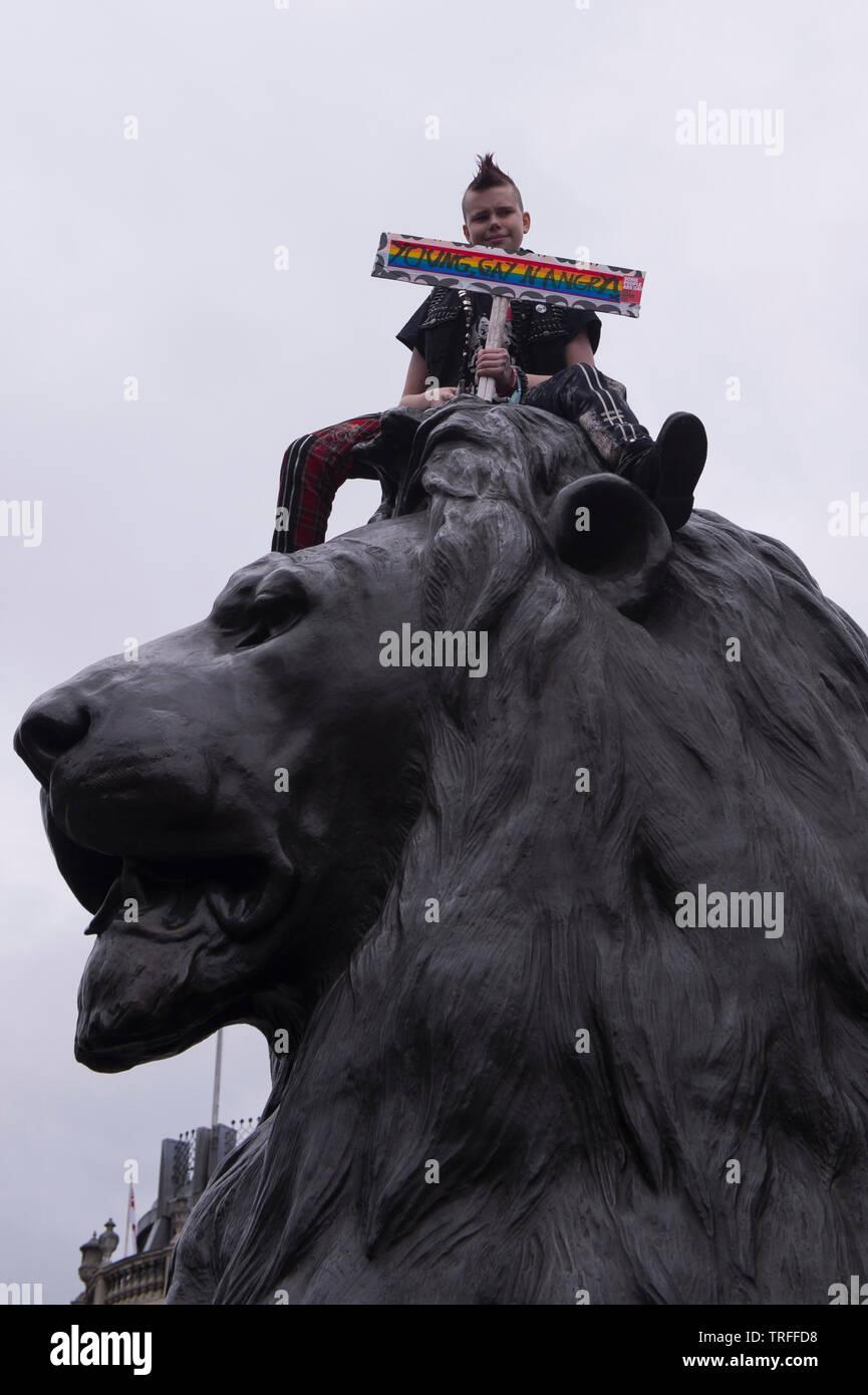 Les manifestants se rassembleront à Trafalgar Square pour protester contre l'atout de Donald. Westminster, London, UK. - 4 juin 2019. Banque D'Images