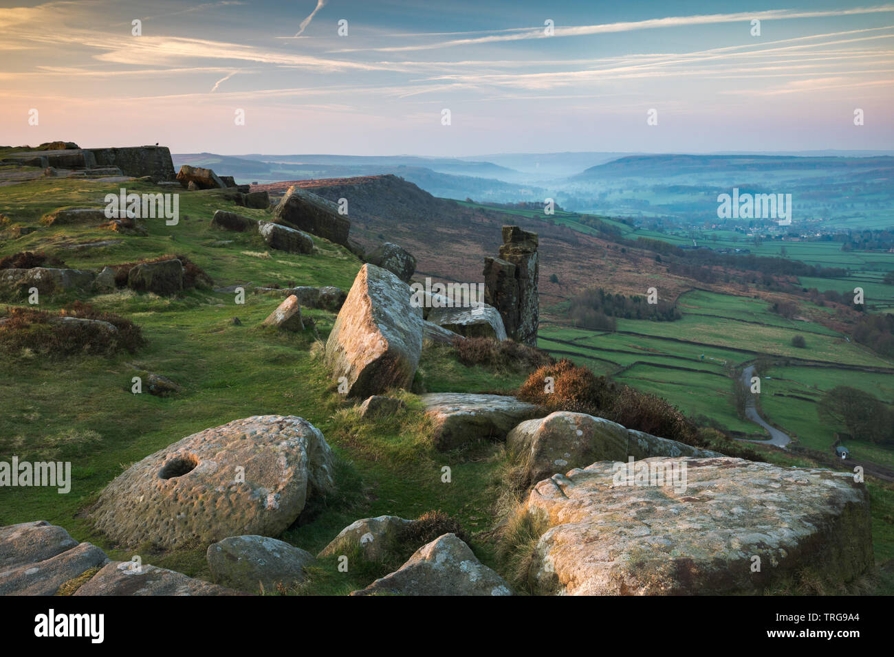 Curbar Edge, parc national de Peak District, Derbyshire, Angleterre, RU Banque D'Images