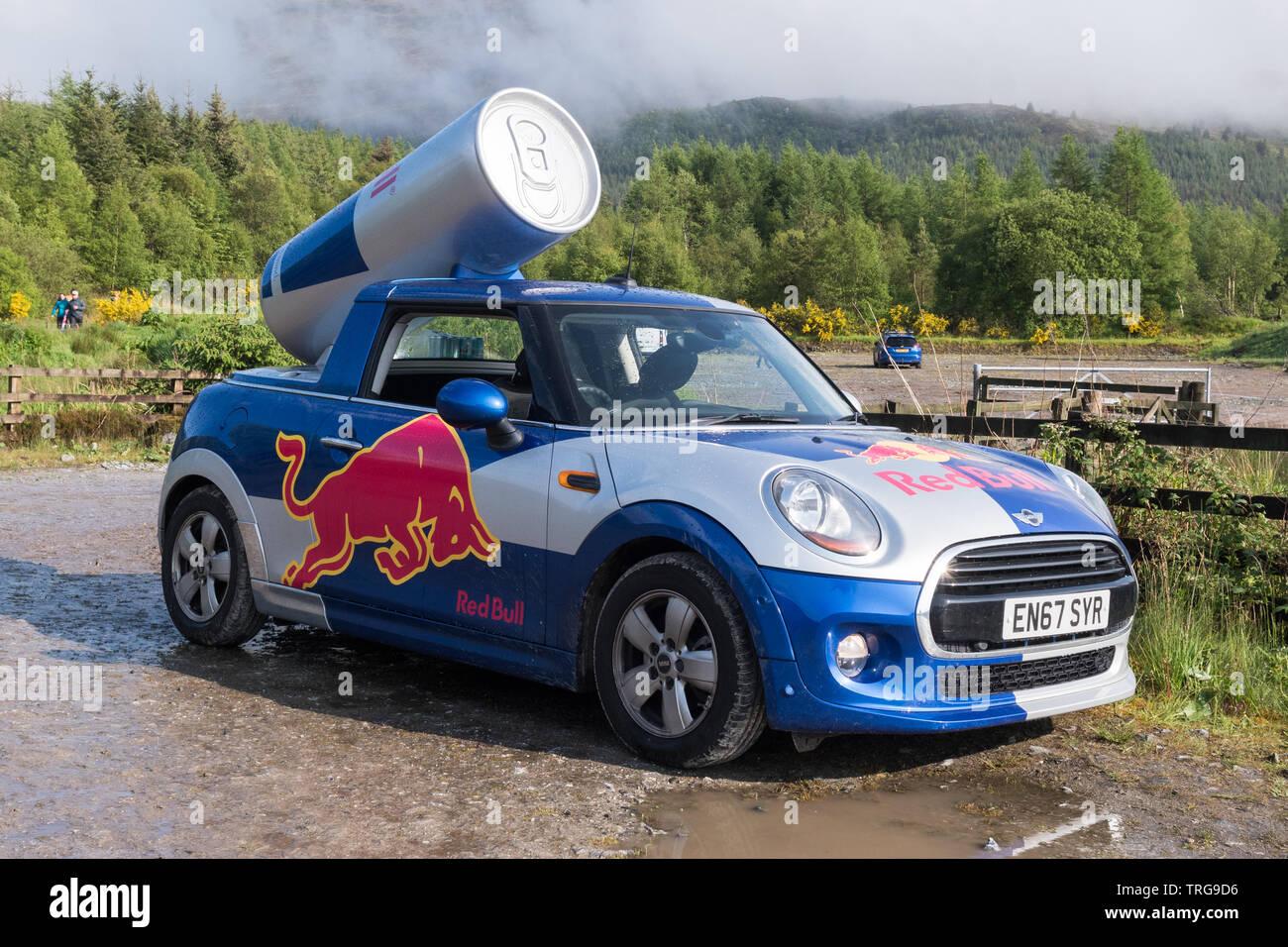 Red Bull mini car - Fort William, Écosse, Royaume-Uni Photo Stock