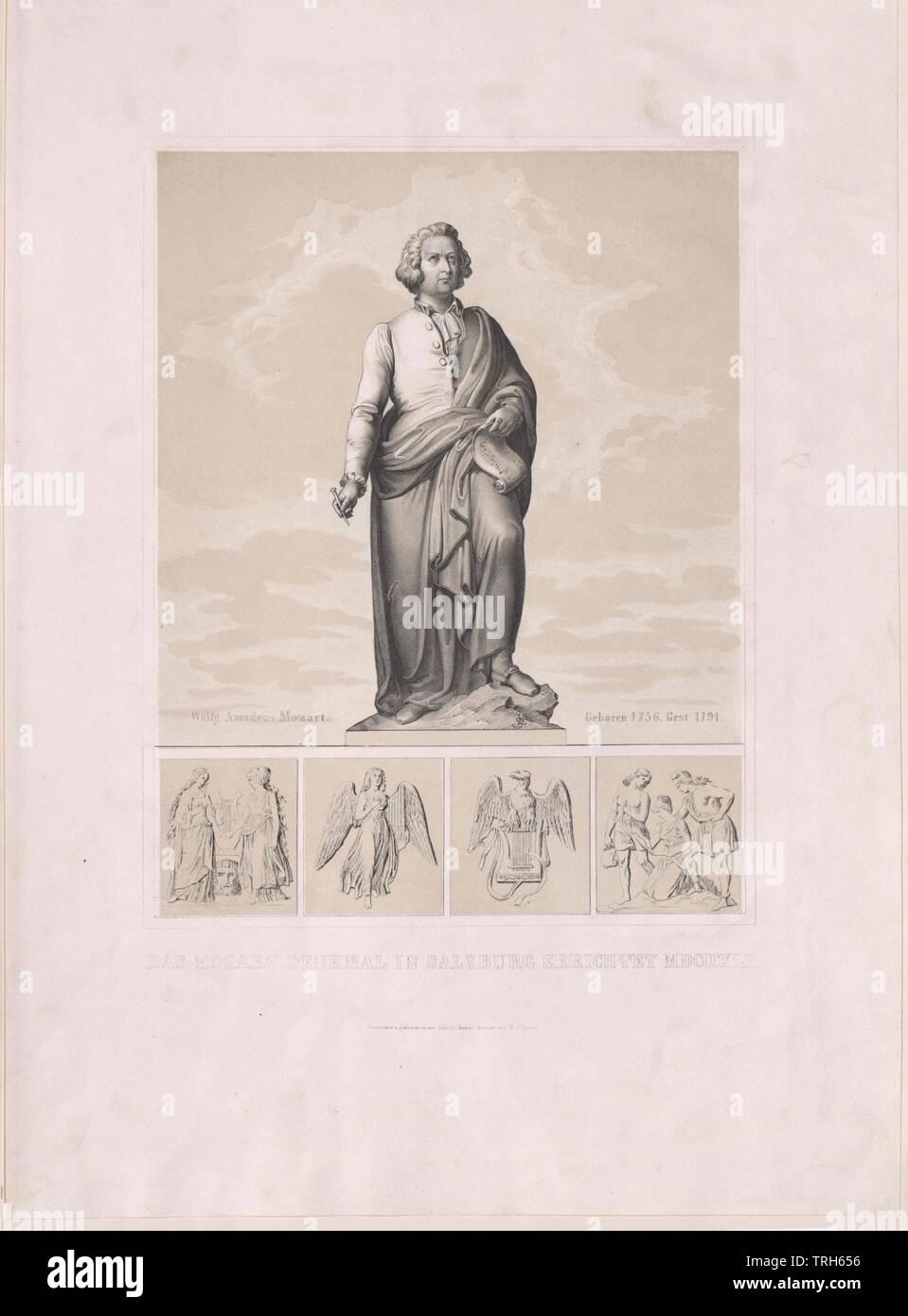 Monument Wolfgang Amadeus Mozart (1756-1791), monument sur la Mozartplatz. 1842, par Ludwig von Schwanthaler, moulage par Stieglmayr,monument, monuments, compositeur, compositeurs, de la culture, cultures, artiste, artistes, musiciens, personnalité, célébrités, musicien, en outre, d'autres, le classicisme viennois, 19e siècle, les gens, pleine longueur, pleine longueur, homme, hommes, homme, Manly, Ludwig, Lewis, Louis, Moulage, moulage, Additional-Rights Clearance-Info-Not-Available- Photo Stock