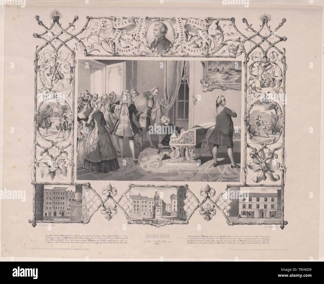 Mozart à Paris, Mozart première exécution à Paris en 1763. projet de lithographie et d'Anton Ziegler,photo du groupe, compositeur, compositeurs, de la culture, cultures, artiste, artistes, musiciens, personnalité, célébrités, musicien, en outre, d'autres, le classicisme viennois, 18e siècle, pleine longueur, pleine longueur, personnes, emerge, Additional-Rights Clearance-Info-émergentes,-Not-Available Photo Stock