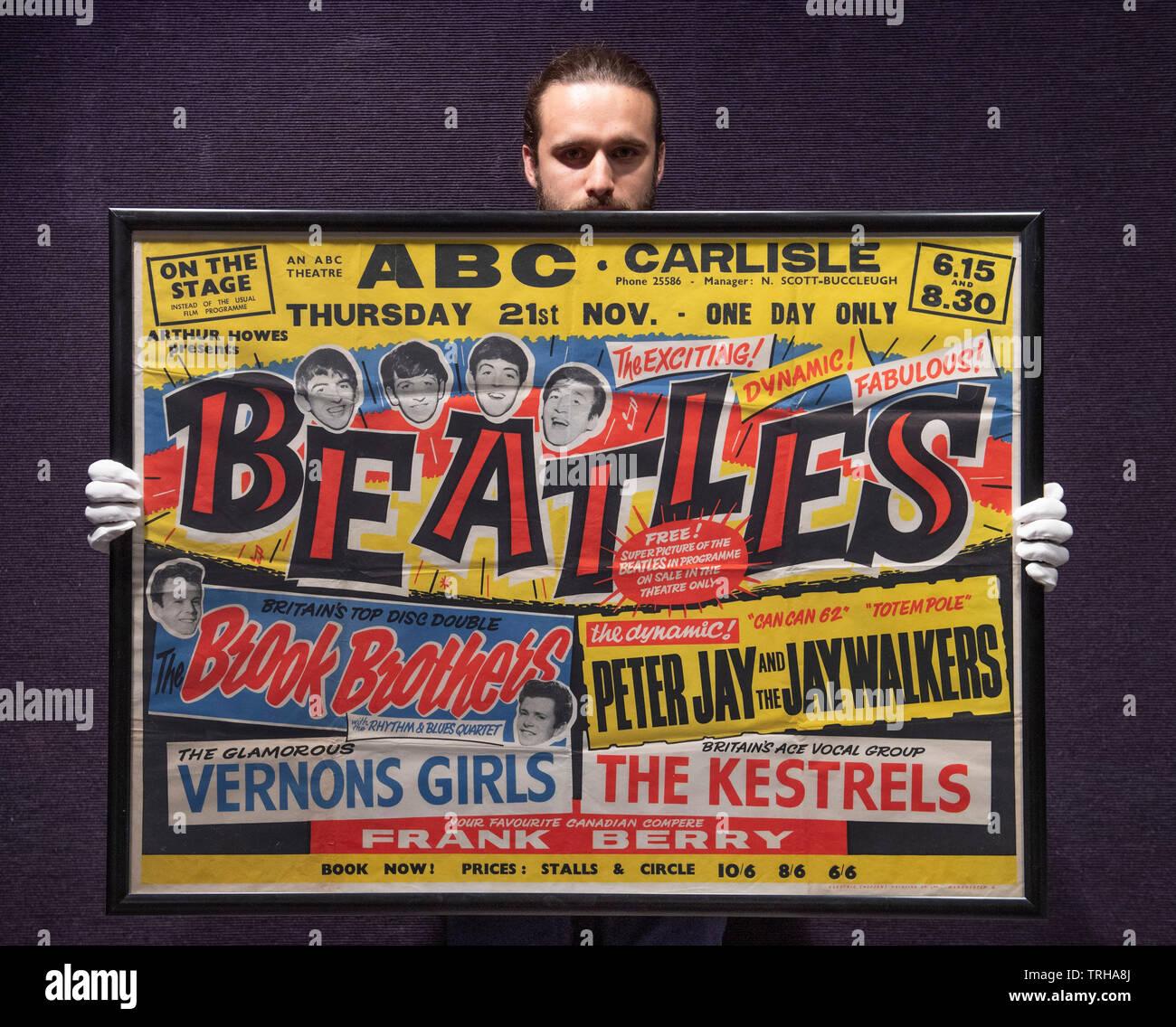 Bonhams, Londres, Royaume-Uni. 6 juin 2019. Vente Bonhams Entertainment Memorabilia essai. L'affiche de concert des Beatles, jeudi 21 novembre 1963, pour l'ABC Carlisle. Estimation: €15 000. Credit: Malcolm Park/Alamy Live News. Photo Stock