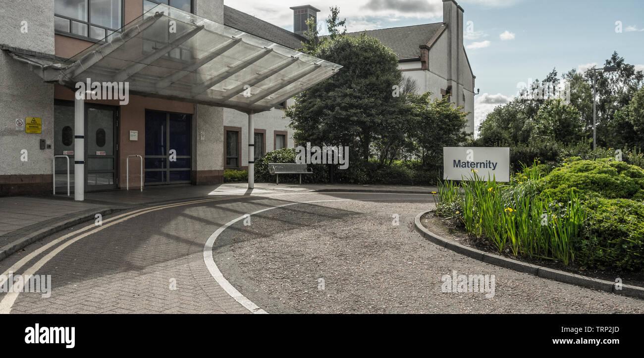 Entrée de l'unité de maternité de l'Hôpital Universitaire, Wishaw, North Lanarkshire, Écosse Photo Stock