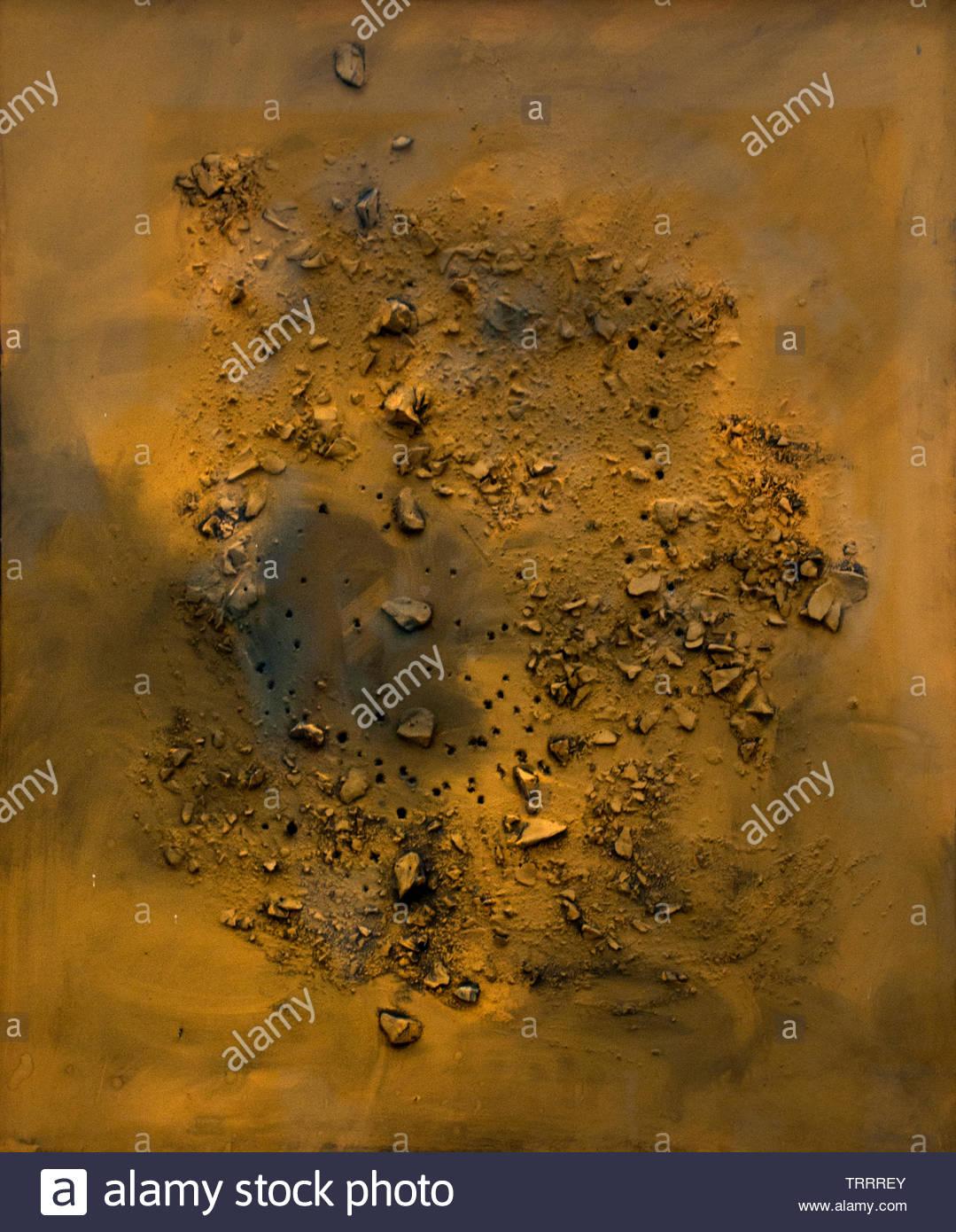 Concept spatial - concept spatial (54 P 11) 1954 Lucio Fontana né en 1899 Argentine-Italian Spatialism , peintre, sculpteur. Italie Photo Stock