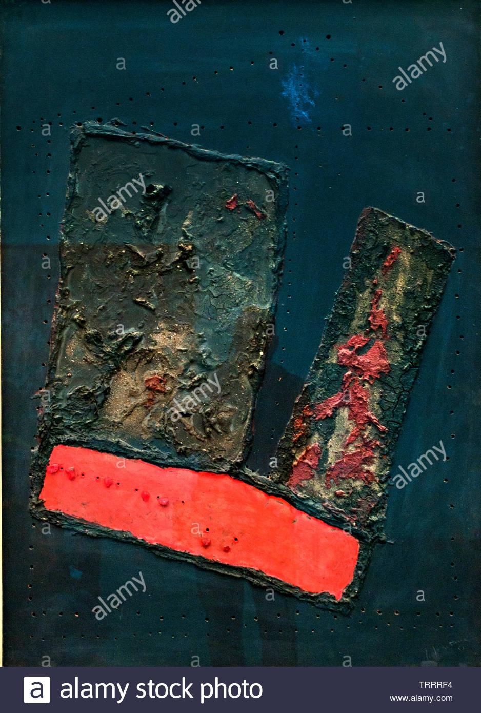 Concept spatial - concept spatial 1955 Lucio Fontana né en 1899 Argentine-Italian Spatialism , peintre, sculpteur. Italie Photo Stock