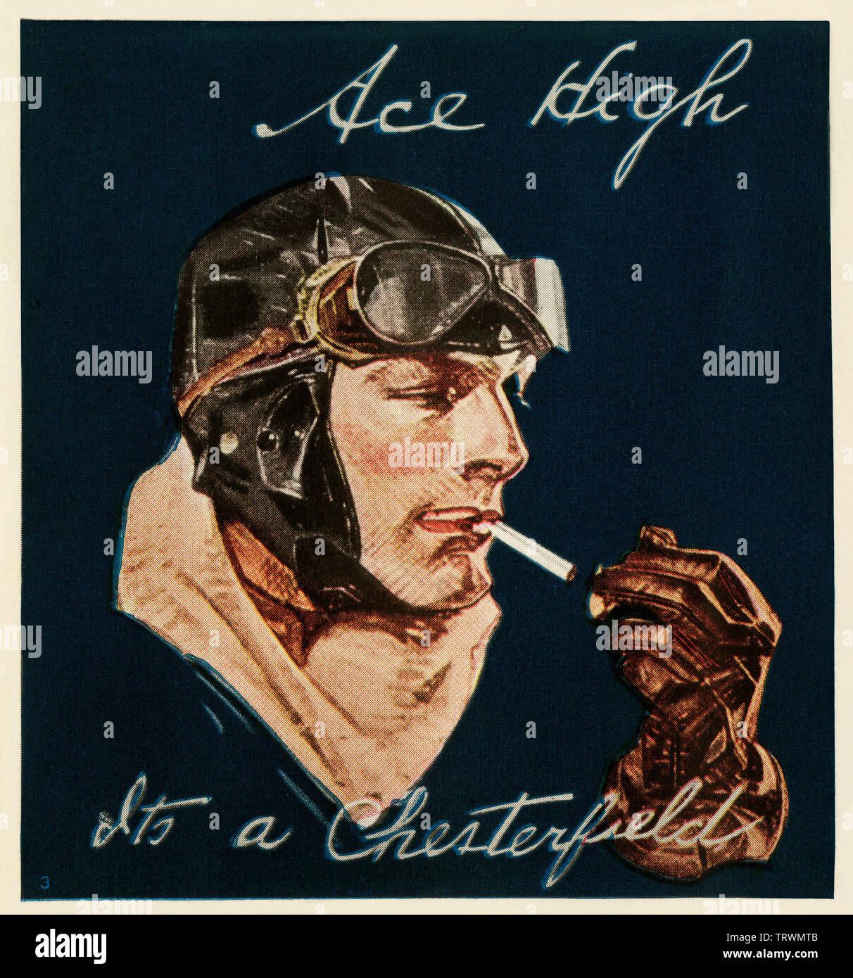Cigarette Chesterfield annonce comportant un aviateur, années 20. Demi-teinte couleur Photo Stock