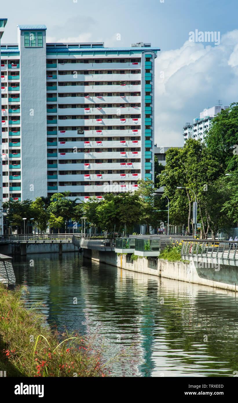 Singapour Singapour 2017 Juil-22:canal Rochor et hdb building view Banque D'Images