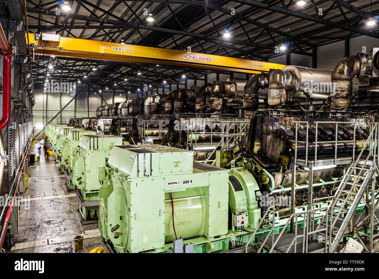 Machines pour la production d'électricité à Bahia las Minas centrale thermique. Colon, Panama. Photo Stock