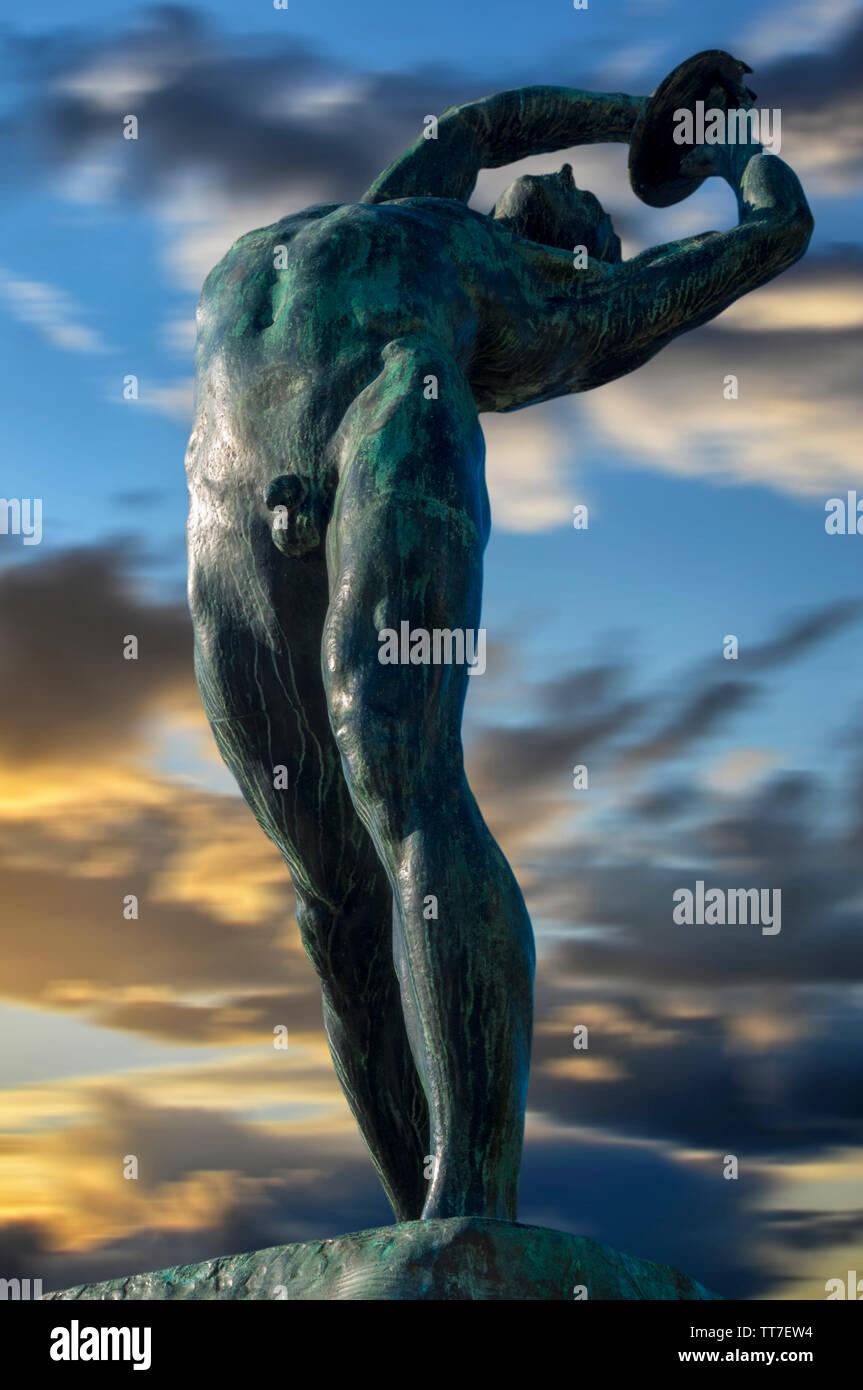 Hand-Made Fait /à la Main Grec Ancien Discus-Thrower Discobole d/écoratifs Statue alb/âtre 29/cm//11.41in