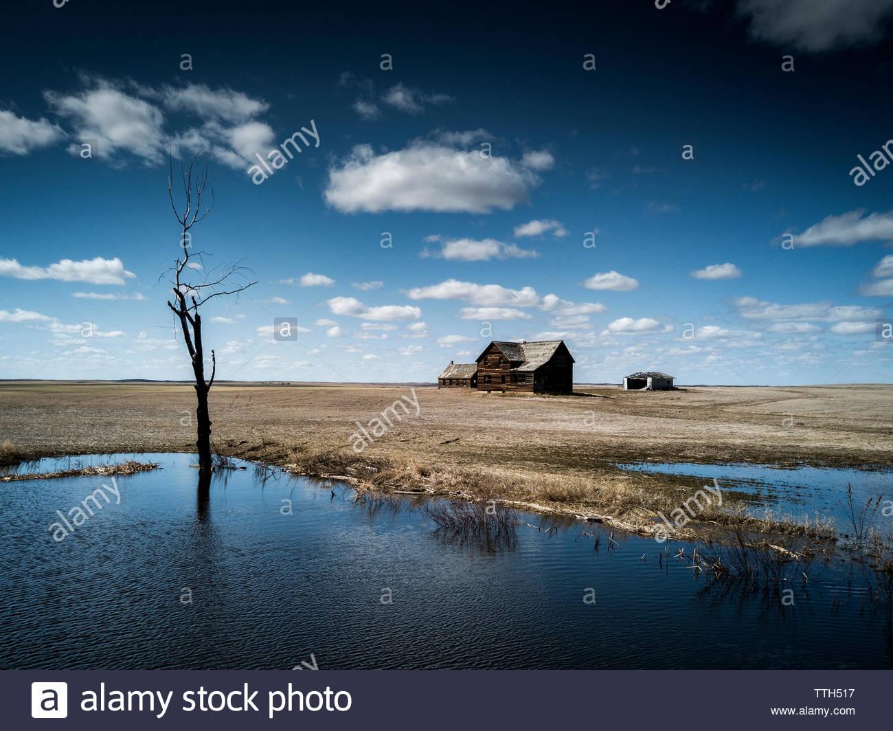 Abandonner une seule ferme dans les prairies canadiennes. Photo Stock