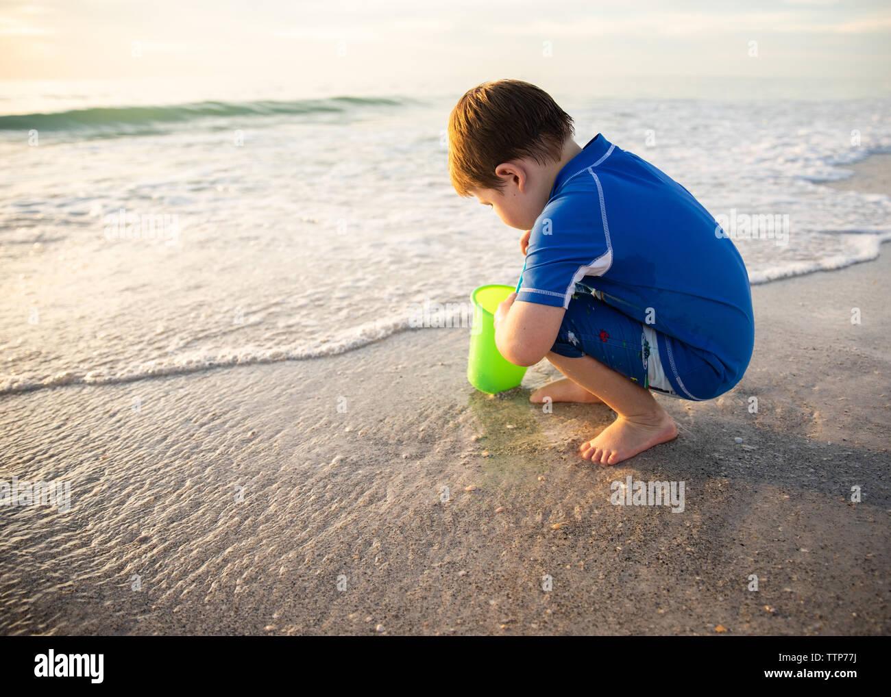 Enfant à genoux avec godet à la recherche de coquillages sur la rive Banque D'Images