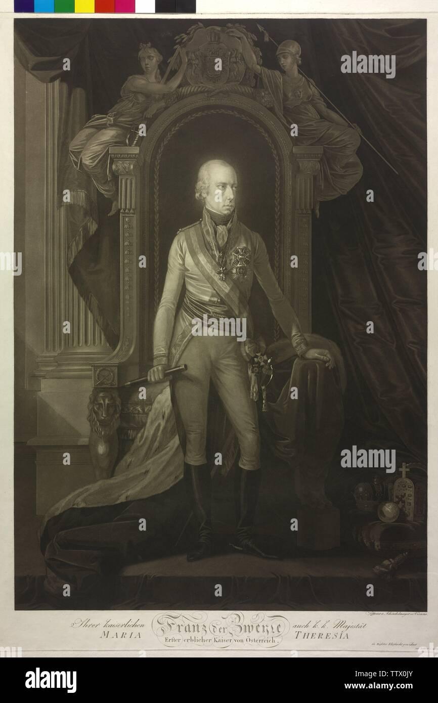 François II, Saint Empereur Romain, photo (pleine longueur, debout, la moitié sur la droite), aquatinte par Johann Zitterer, avec Schindelmayer Additional-Rights, Karl Robert-Clearance-Info-Not-Available Banque D'Images