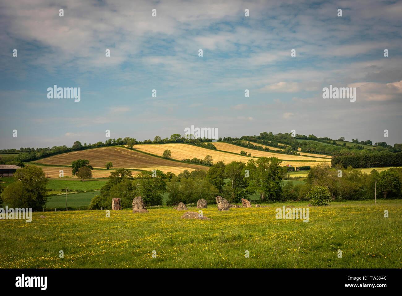 Le cercle de pierre de l'Est du nord de la fin du Néolithique ou au début de l'âge du bronze à Stanton Drew stone circles, Somerset, UK Photo Stock
