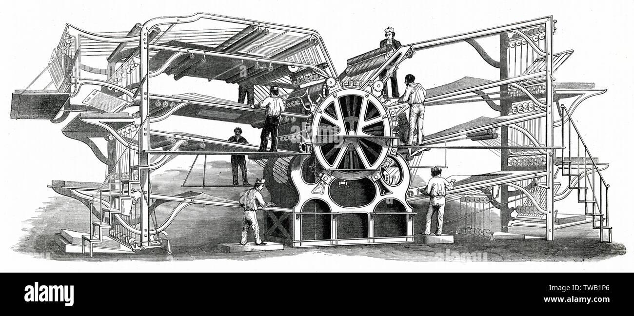 Richard Hoe's machine d'impression avec huit rss. Date: 1851 Photo Stock