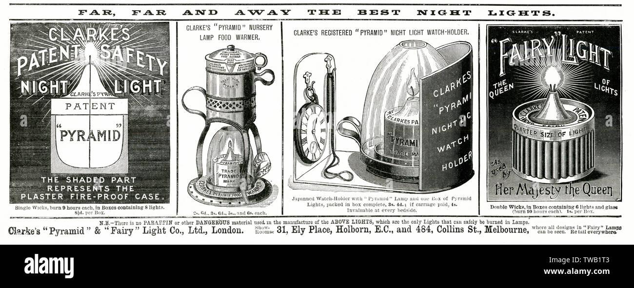 Clarke's patent lumière nuit à la sécurité. Date: 1892 Photo Stock