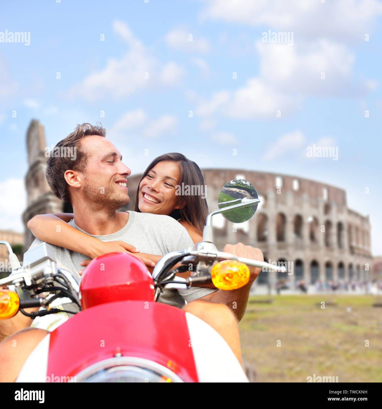 couple moped italy photos couple moped italy images alamy. Black Bedroom Furniture Sets. Home Design Ideas