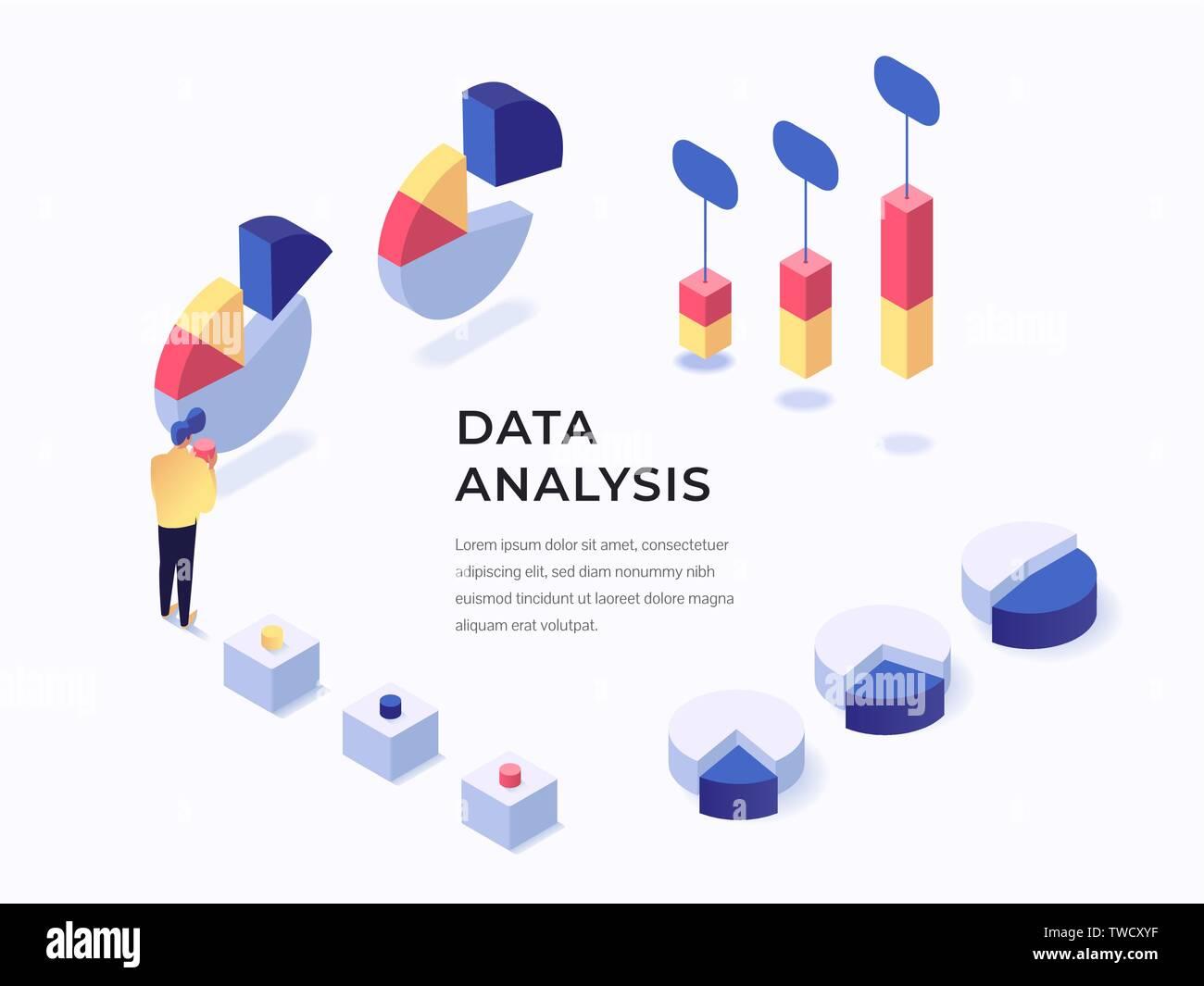 Analyse de données concept isométrique style plat vector illustration. Place pour le texte. Les tableaux et graphiques Illustration de Vecteur