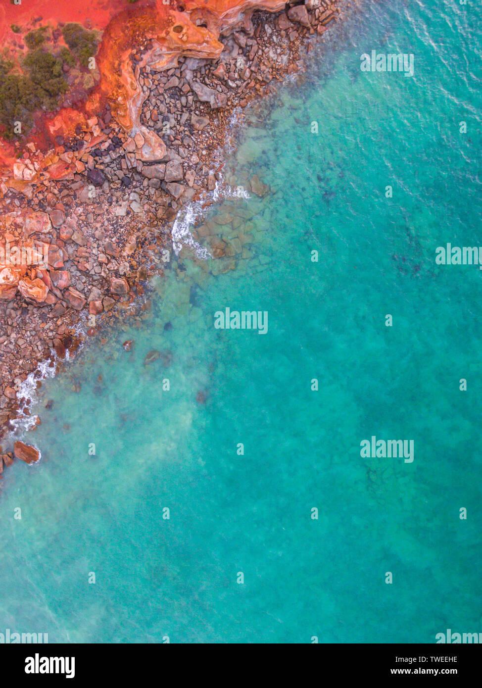 Une vue aérienne de Gantheaume Point dans Broome, Australie occidentale. Banque D'Images