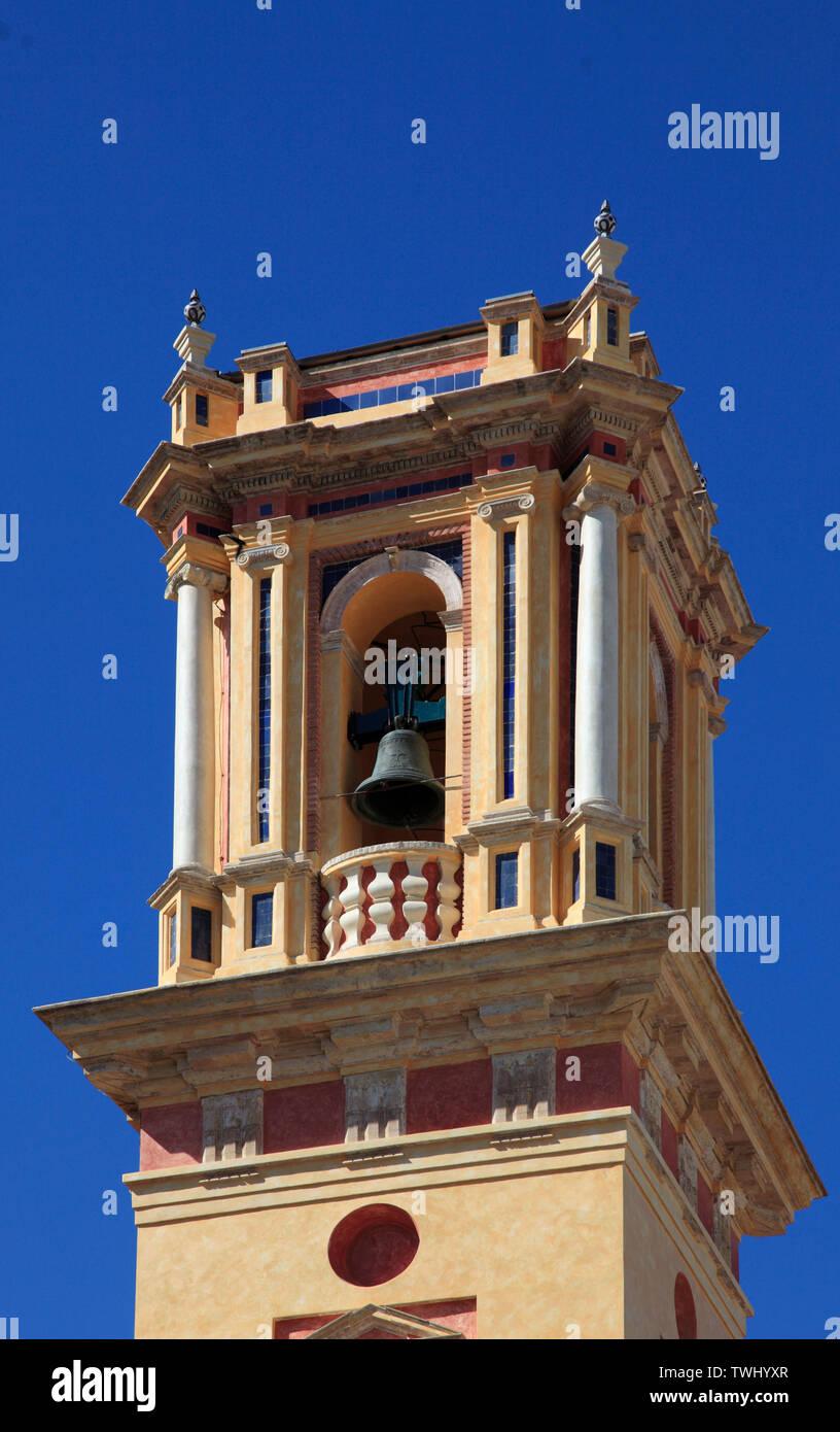 L'Espagne, Andalousie, Séville, San Bartolome, clocher de l'Église, Banque D'Images