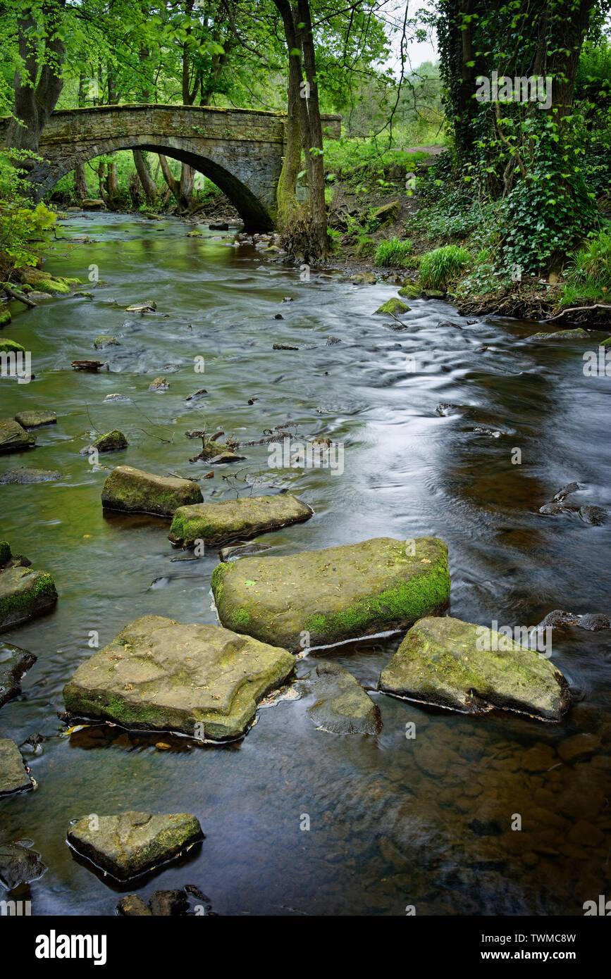UK,South Yorkshire,Sheffield,River Bridge Roscoe & Rivelin Banque D'Images