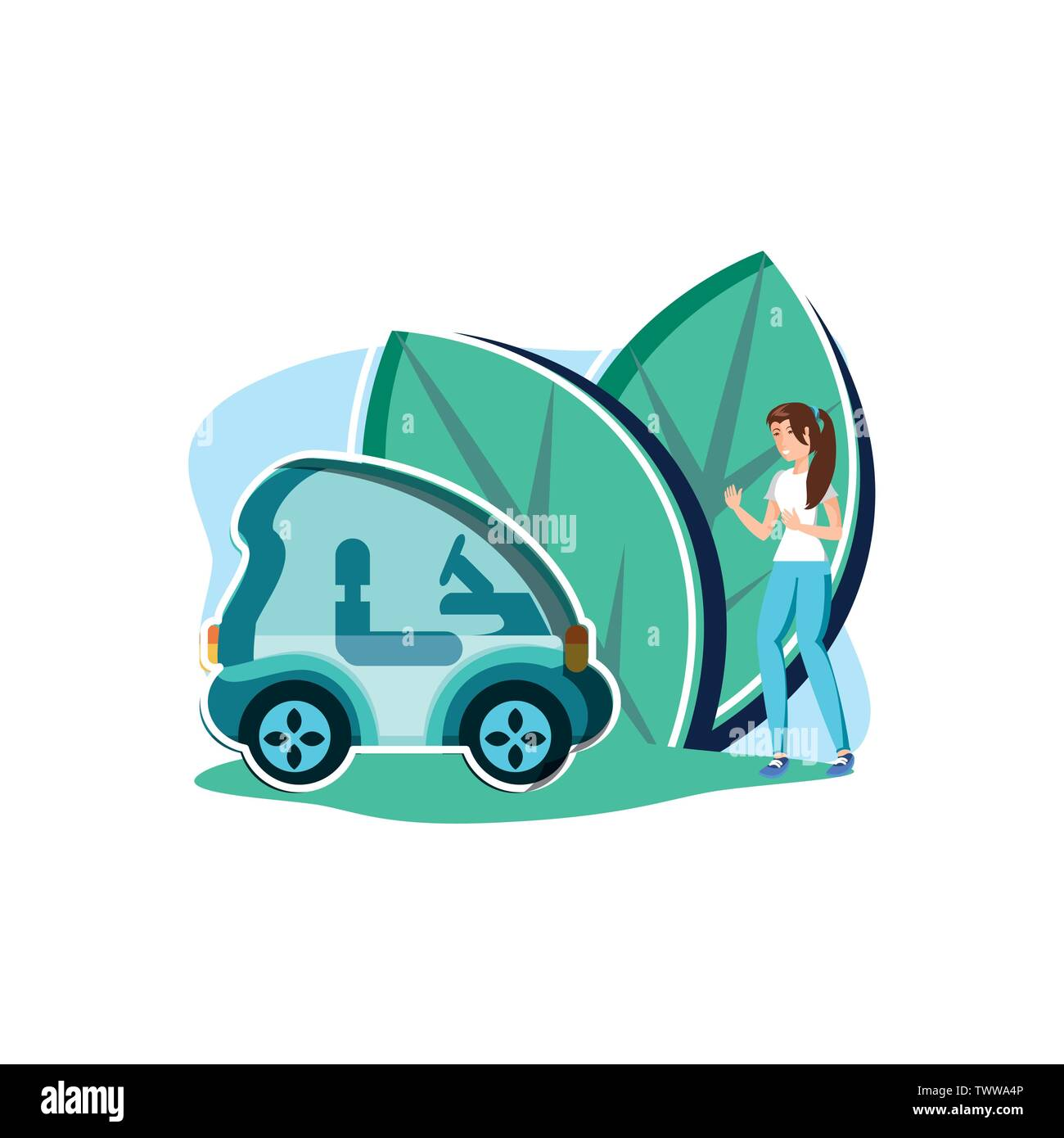 Avatar Femme et modèle de voiture, la durabilité écologique et renouvelable écologie recyclage vert thème solution Vector illustration Photo Stock