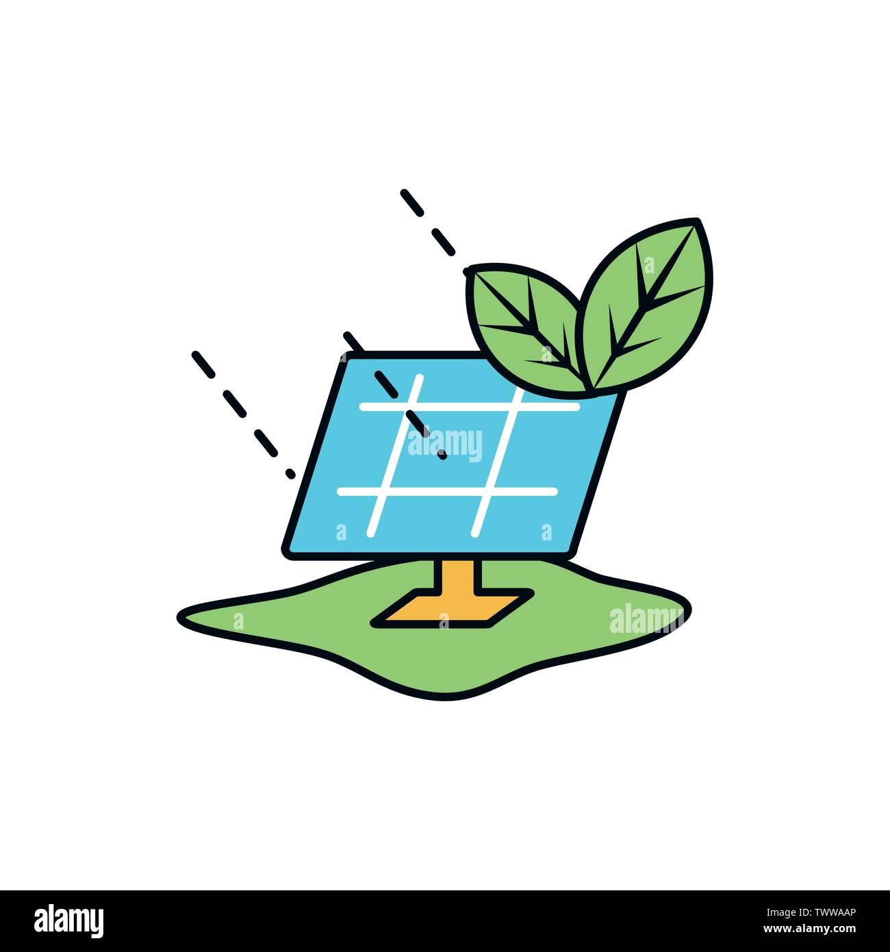 La conception du panneau solaire, économiser de l'énergie durable eco power et de l'environnement thème Vector illustration Photo Stock