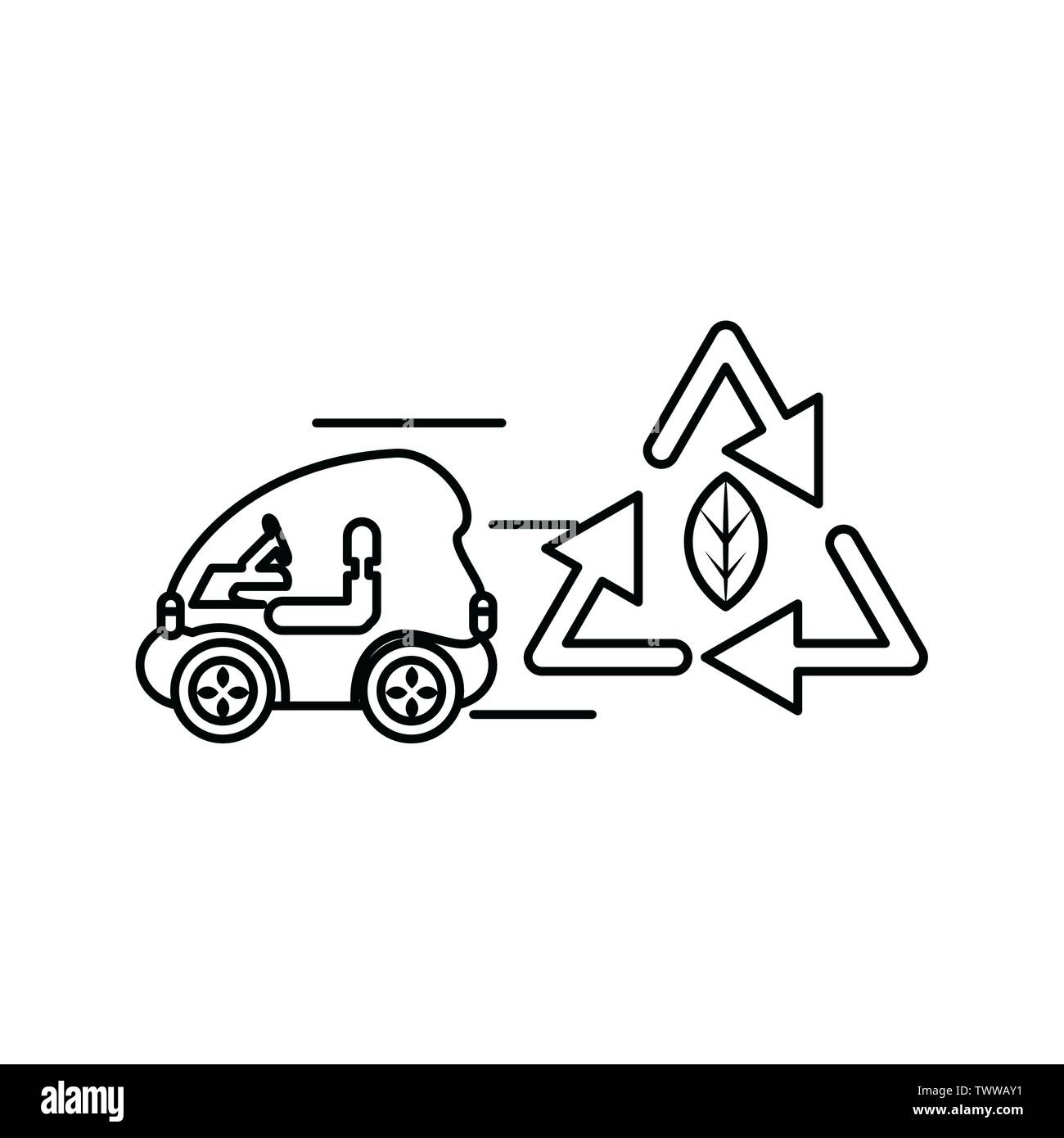 Dessin de la feuille et en voiture, Eco city sauver la planète penser vert et de recyclage thème Vector illustration Photo Stock