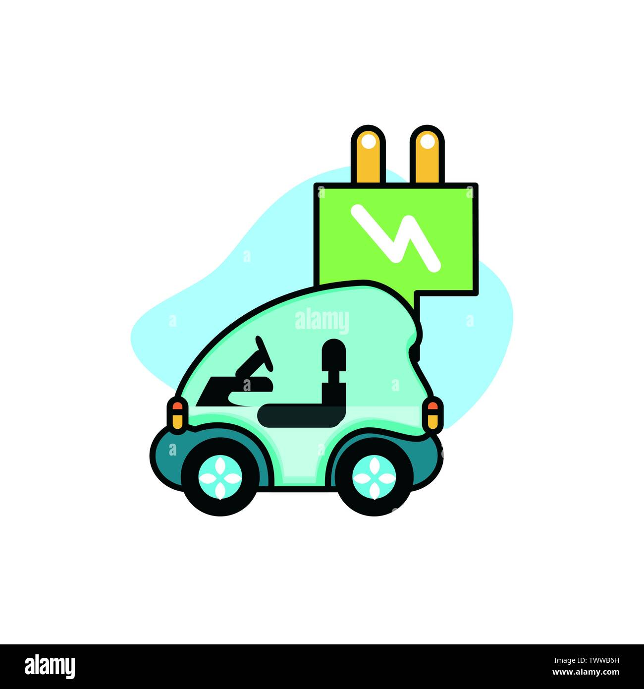Voiture et la conception du bouchon, Eco city sauver la planète penser vert et de recyclage thème Vector illustration Photo Stock