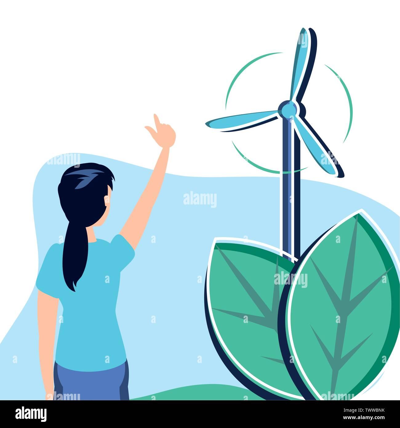 Avatar Femme conception, durabilité écologique et renouvelable écologie recyclage vert thème solution Vector illustration Photo Stock